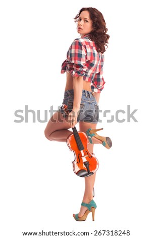 Sexy woman with violin. Isolated over white background - stock photo
