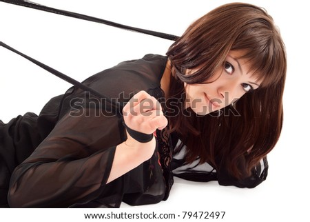 Sexy woman with whip on white background