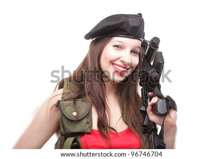 Sexy women - Girl holding an Assault Rifle, islated on white background