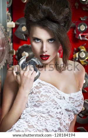 Sexy women with red lips - stock photo