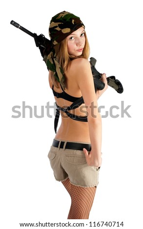 Sexy young aiming woman with rifle, isolated on white
