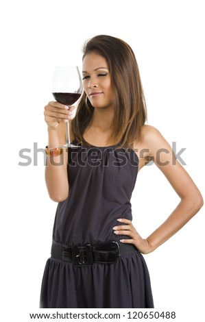 sexy young asian woman with red wine isolated on white background - stock photo