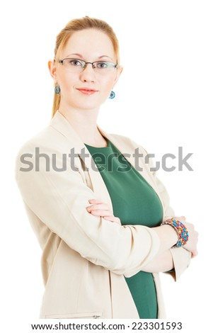 sexy young blonde girl wearing a green dress, jacket and glasses
