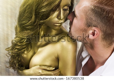 Sexy young couple in love - stock photo