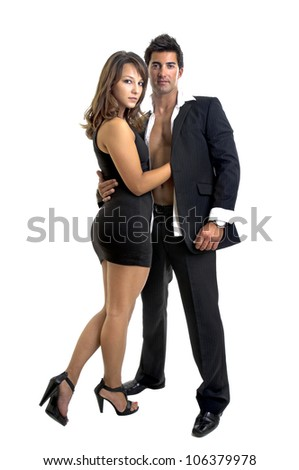 Sexy young couple isolated in white - stock photo
