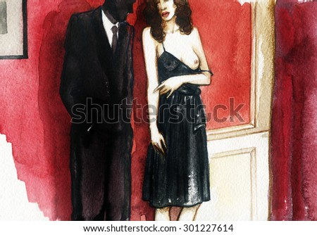 Sexy young couple man and woman . watercolor illustration - stock photo