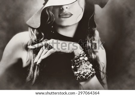 Sexy young pretty woman model lips make-up, vintage, retro hat and jewelry - stock photo