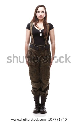 Sexy young Woman army soldier isolated on white background - stock photo