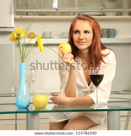 sexy young woman drinking wine - stock photo