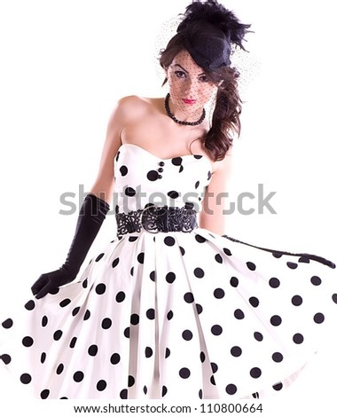 Sexy young woman in retro style isolated on white background. - stock photo