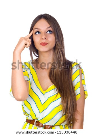 Sexy Young Woman Thinking with Finger on Head Isolated on White - stock photo