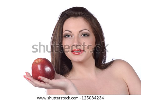Sexy young woman with apple, isolated over white