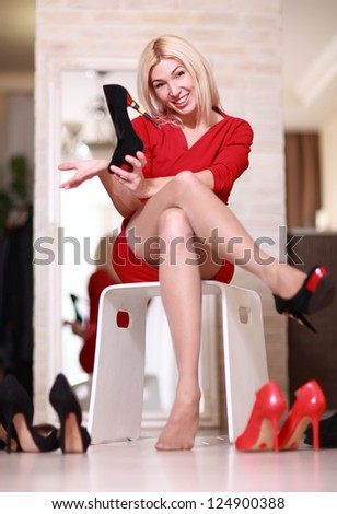 Sexy young woman with beautiful shoes - stock photo
