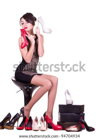 Sexy young woman with beautiful shoes isolated on white background. - stock photo