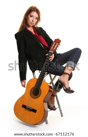 sexy young woman with guitar - stock photo
