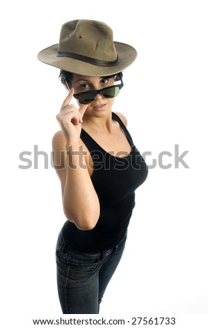 sexy young woman with sunglasses adventure travel hat isolated tight jeans