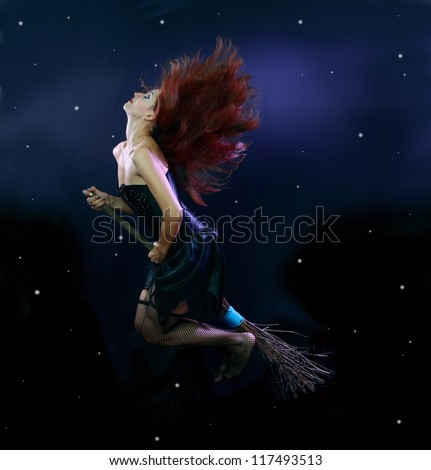 Sexywitch flying on broom on a dark sky with stars