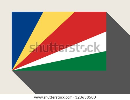 Seychelles flag in flat web design style. - stock photo