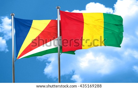 seychelles flag with Guinea flag, 3D rendering