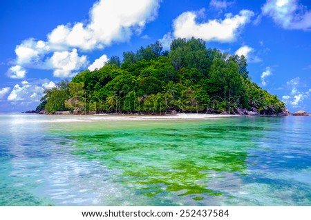 Seychelles island - paradise - view from the sea (from the deck of the ship) - stock photo
