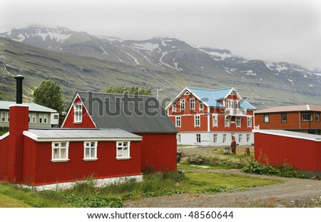 Seydisfjordur - picturesque town located in Eastfjords region of Iceland