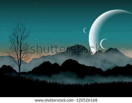 SF space night sky with silhouette mountains and close planets - stock photo