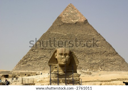 sfing and pyramid - stock photo