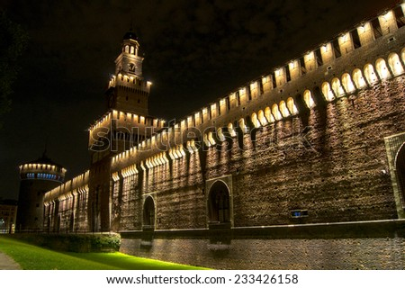 Sforza Castle in Milan in night light - stock photo