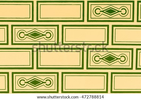 Sgraffito pattern green and yellow