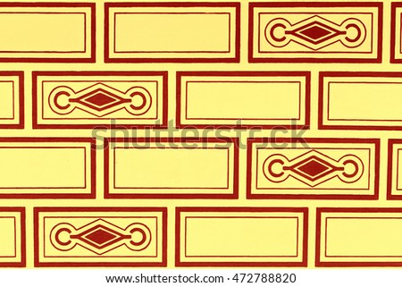Sgraffito pattern red and yellow