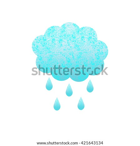 Shabby blue colored cloud and rain drops isolated on white background. Logo template, design element - stock photo