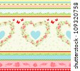 Shabby Chic floral pattern. Country style roses and stripes background. - stock photo