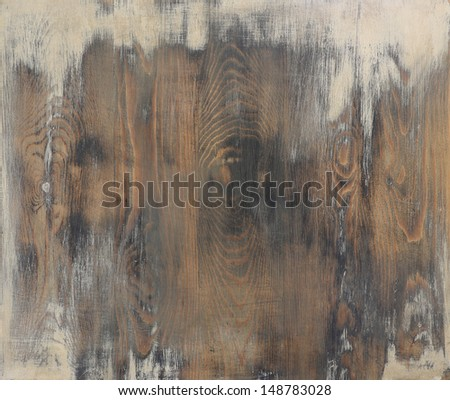Shabby chic wooden table background, copy space - stock photo