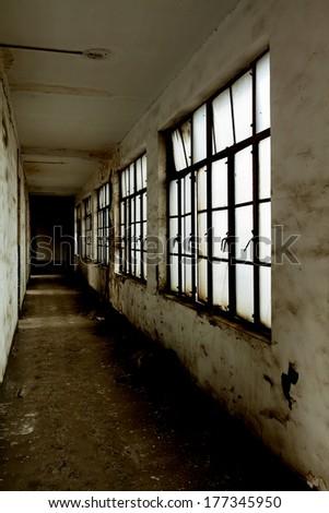Shabby corridor - stock photo