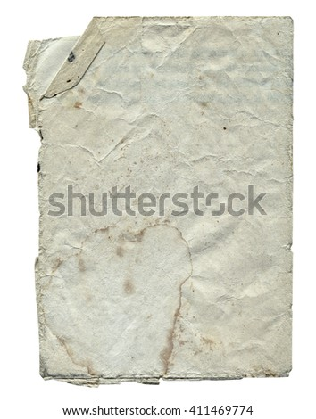 Shabby paper blank with torn edges and old spots isolated on white background. Vintage texture for design.