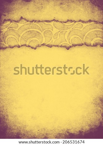 Shabby paper with ornament with cracked paper sheet - stock photo