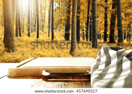 shabby table napkin and autumn