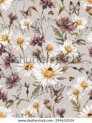 Shabby Watercolor Vintage Floral Seamless Pattern with Blooming Chamomile  and Daisies Cornflowers Ladybird Bumblebee Bee and Blue Butterflies, Watercolor illustration on dark background. - stock photo