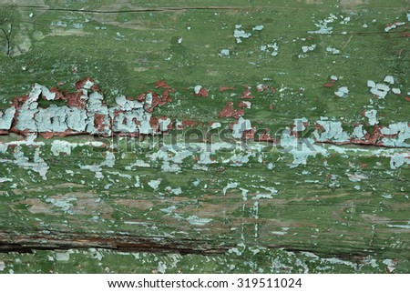 Shabby Weathered Wood Green Background Texture Abstract Close-up - stock photo
