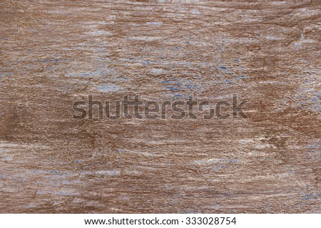 Shabby weathered wood texture as background. Brown wood with remains of blue paint and scratches. - stock photo