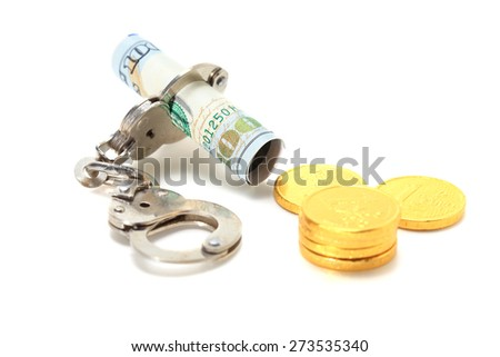 Shackle lock banknote with coin - stock photo