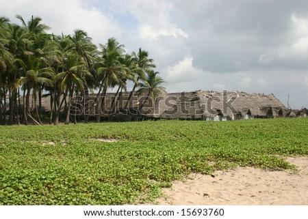 shacks at Indian beach - stock photo