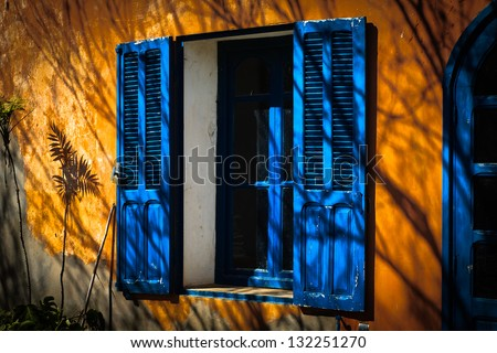 Shade of flower near open blue window - stock photo