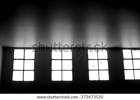 Shading of window. black and white - stock photo
