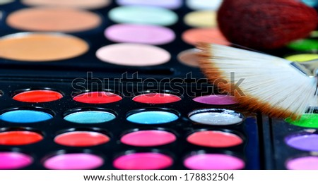 shadow brush color cosmetics lipstick - stock photo