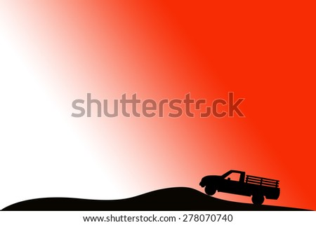 Shadow car pickup sunset background.