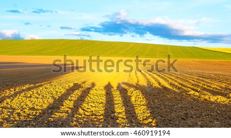 Shadow of a men on a brown plowed field at sunset.