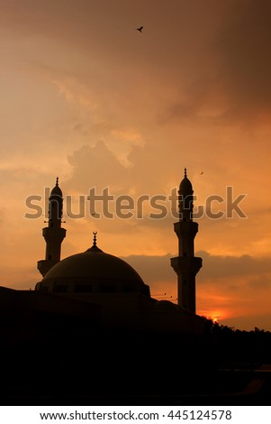 shadow of a mosque at sunset. birds flying around the mosque.