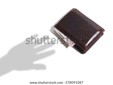 Shadow of Hand Reaching for a Leather Wallet with Euro Notes on a White Background