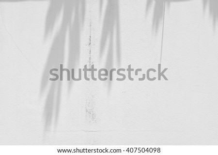 shadow of leaf tree on wall - stock photo